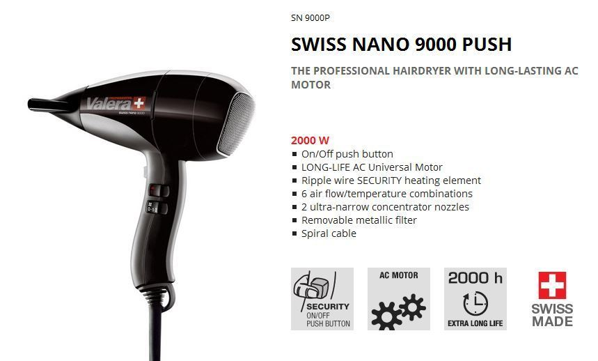 Valera Nano 9000 2000w PUSH BUTTON hair dryer ea473a39801